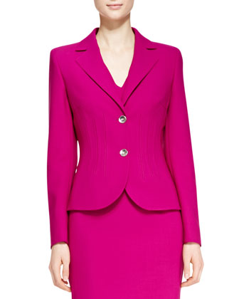 Vertical Welt Two-Button Blazer & V-Neck Dress