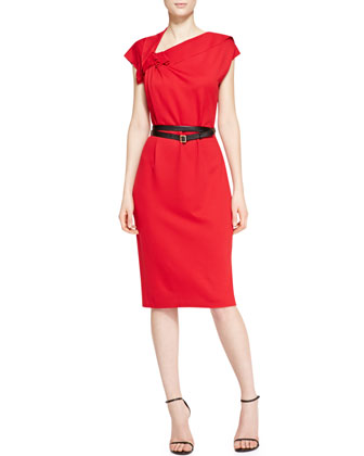 Cap-Sleeve Ruffle Detail Dress with Belt, Garnet Red
