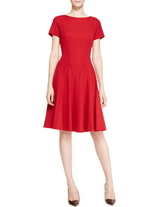 Short-Sleeve Flared Dress, Garnet Red
