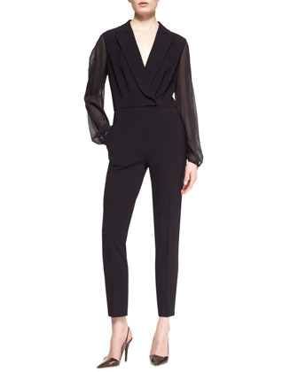 Sheer-Sleeve Faux-Wrap Jumpsuit, Black