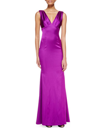 Sleeveless Ruched-Bust Gown, Purple