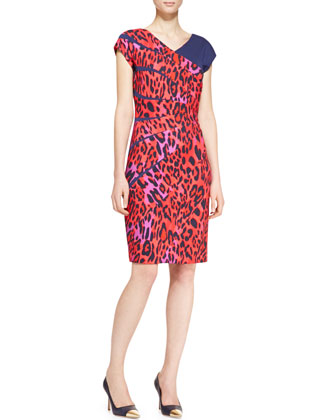 Radiant-Seam Leopard Dress, Garnet Red