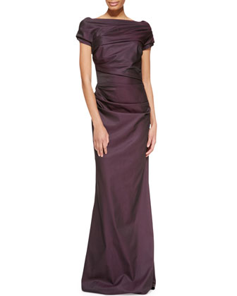 Cap-Sleeve Ruched Gown, Dark Purple