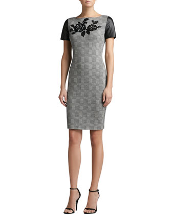Prince of Wales Plaid Knit Short Sleeve Sheath Dress with Leather
