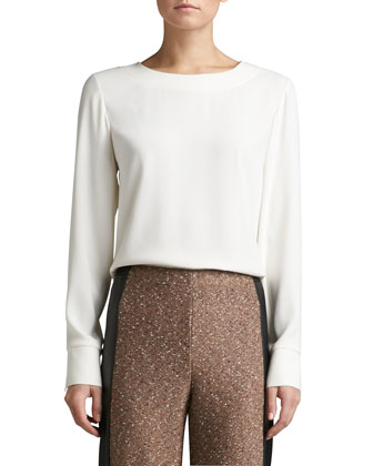 Luxe Crepe Jewel Neck Blouse with Cuff Slits, Shirttail & Back Zip ...