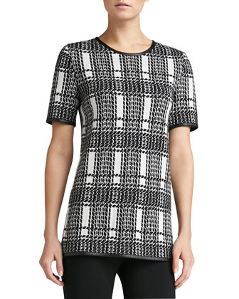 Plaid Damask Jacquard Knit Jewel Neck Tunic with Soft Napa Leather