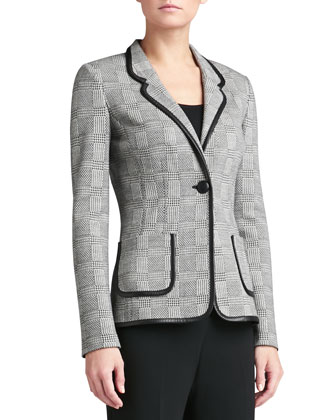 Prince of Wales Plaid Knit Blazer with Pockets & Leather Accents