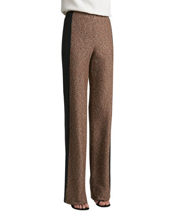 Donegal Tweed Knit Wide Leg Pants with Elastized Waistband & Contrast Napa ...