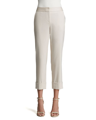 Stretch Venetian Wool Slim Straight Leg Cropped Pants