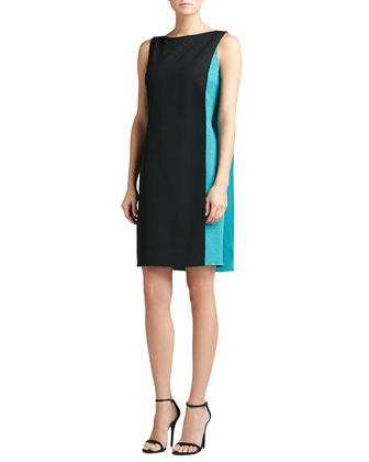 Doubleface Two-Toned Milano Knit Fitted Dress