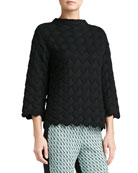 Macro Basketweave Knit Funnel Neck Sweater