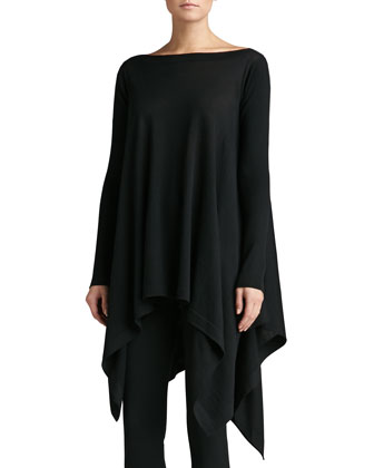 Lightweight Knit Bateau Neck Tunic with Rib Sleeves