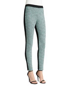 Houndstooth Tweed Knit Ankle Pants with Contrast Milano Knit Back