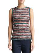 Light Lockram Space Dye Knit Bateau Neck Shell with Side Slits