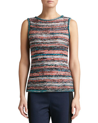 Light Lockram Space Dye Knit Bateau Neck Shell with Side Slits