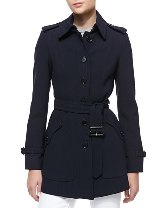 Short Tailored Trenchcoat w/ Belt, Ink