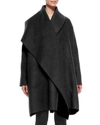 Wool/Mohair Coat with Draped Lapel, Black