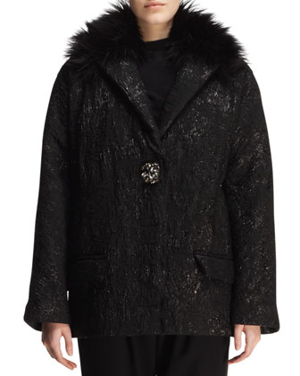 Matelasse Crystal-Button Short Coat with Faux-Fur Trim