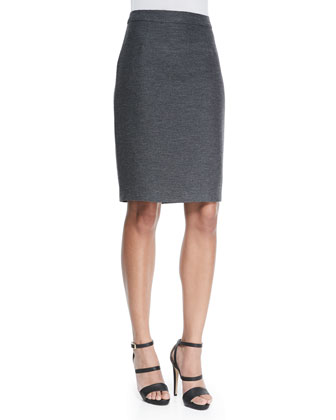 Stretch-Wool Back Zip Pencil Skirt, Gray