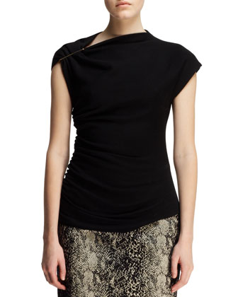 Boxy Spotted Calf Hair Jacket, Pin-Shoulder Top & Python-Jacquard Pencil Skirt