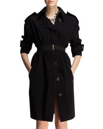 Belted Techno Trench Dress