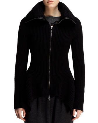 Scarf-Hem Zip Cardigan Sweater