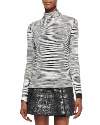 Space Dye Striped Turtleneck Top, Black/White