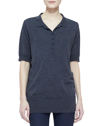 Merino-Wool Short-Sleeve Collared Shirt