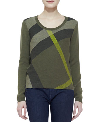 Check Knit Long-Sleeve Sweater, Military Olive