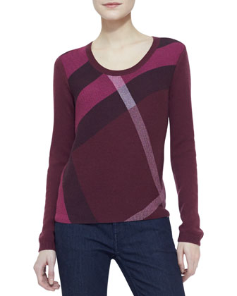 Check-Knit Long-Sleeve Sweater, Maroon