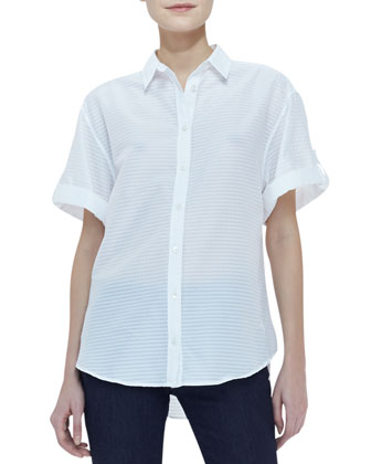 Short-Sleeve Button-Up Top, White