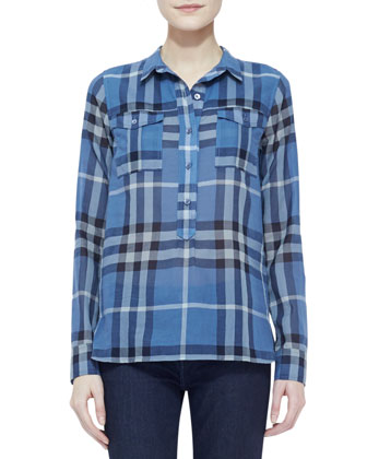 Long-Sleeve 2-Pocket Check Top, Steel Blue