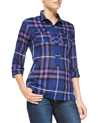 Long-Sleeve 2-Pocket Check Top, Navy/Mid Blue