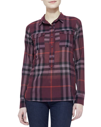 Check Cotton Long-Sleeve Shirt, Deep Claret