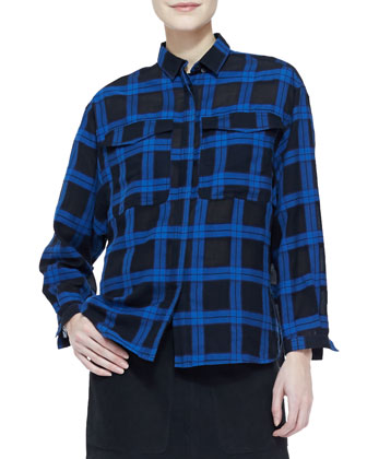Cotton Plaid Button-Up Blouse