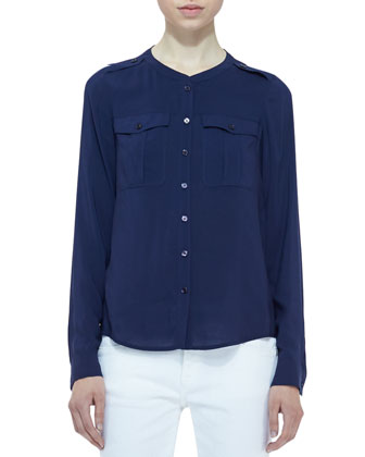 Voile Two-Pocket Blouse & Denim Skinny-Leg Jeans