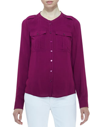 Voile Two-Pocket Blouse, Deep Fuchsia
