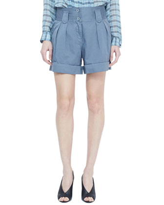 Cuffed Twill Shorts, Storm Gray