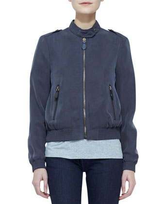 Tech Bomber Jacket with Epaulets, Knit Short-Sleeve Top & Denim Skinny-Leg ...