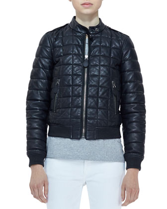Quilted-Lambskin Long-Sleeve Bomber Jacket, Knit Short-Sleeve Top & Denim ...