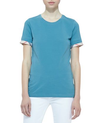 Short-Sleeve Check-Cuff Tee, Opal Green