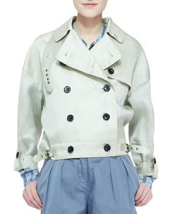 Cropped Trench Coat, Pale Gray-Green