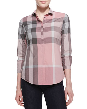 Poplin Check Button-Up Top, Pale Rose Pink