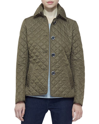Long-Sleeve Quilted Jacket, Military Khaki