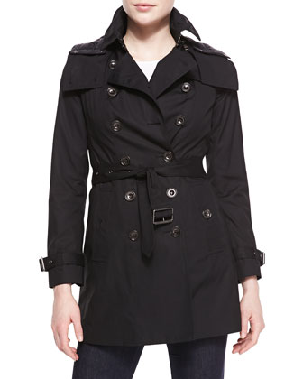 Double-Breasted Hooded Tench Coat