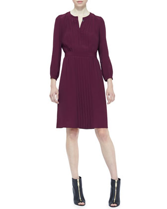 Pleated 3/4-Sleeve Dress, Deep Claret