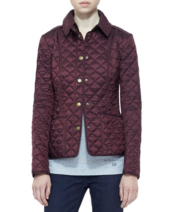 Shiny Quilted Jacket, Deep Claret