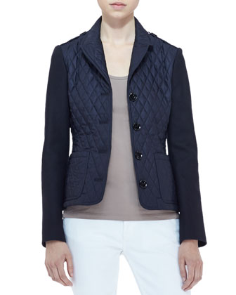 Long-Sleeve Quilted Jacket, Navy
