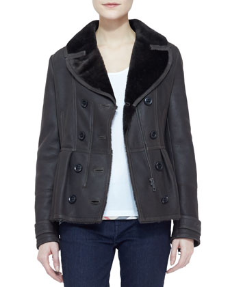Long-Sleeve Belted-Waist Fur-Lined Leather Jacket, Gray