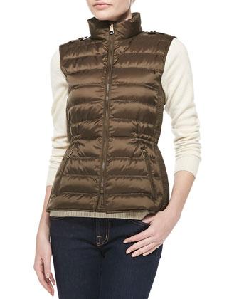 Zip Puffer Vest, Khaki Green